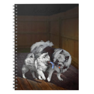 Caderno Espiral Pintura do Playtime do Keeshond - arte original