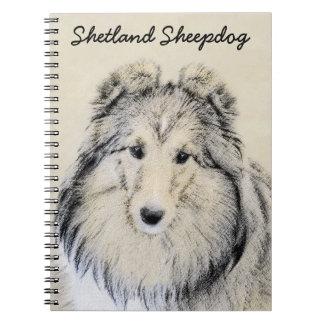 Caderno Espiral Pintura do Sheepdog de Shetland - arte original
