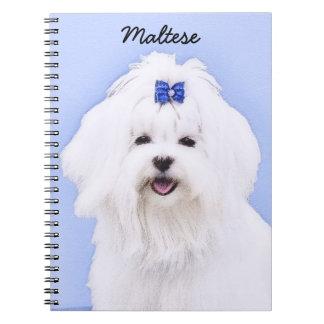Caderno Espiral Pintura maltesa - arte original bonito do cão