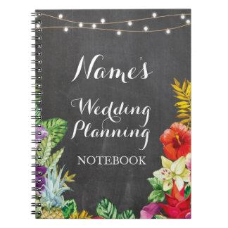 Caderno Espiral Planeamento tropical Aloha Luau do casamento do