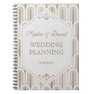 Caderno Espiral Planejador branco do casamento do grande ouro do