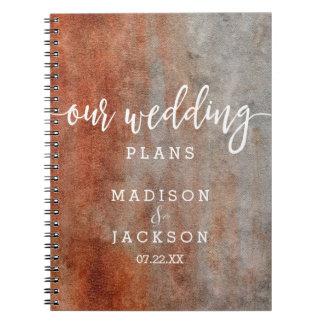 Caderno Espiral Planejador cinzento alaranjado do casamento da