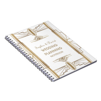 Caderno Espiral Planejador do casamento da arte de Gatsby dos anos