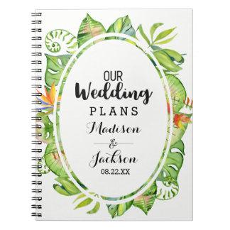 Caderno Espiral Planejador em folha de palmeira tropical do
