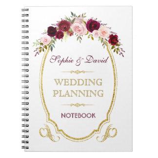 Caderno Espiral Planejador floral do casamento outono de Borgonha