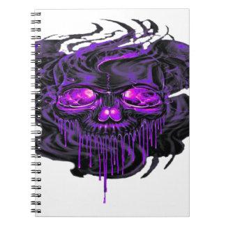 Caderno Espiral Png roxo dos esqueletos de Nerpul