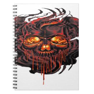Caderno Espiral Png vermelho sangrento dos esqueletos
