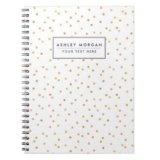 Caderno Espiral Pontos modernos elegantes dos confetes do branco e