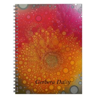 Caderno Espiral Pop art alaranjado vermelho da margarida do