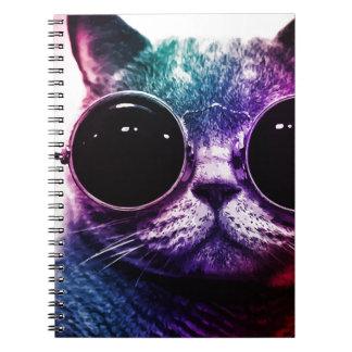 Caderno Espiral Pop art do gato do hipster