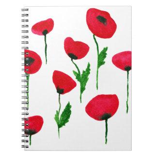 Caderno Espiral poppys da aguarela