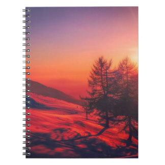 Caderno Espiral Por do sol nevado da noite