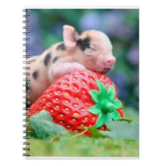 Caderno Espiral porco da morango