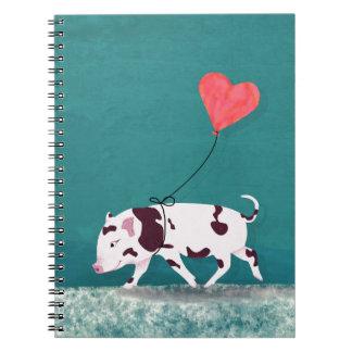 Caderno Espiral Porco do bebê com balão do coração