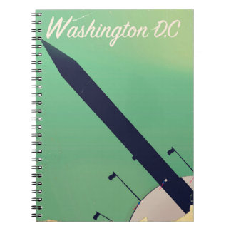 Caderno Espiral Poster das viagens vintage da C.C. de Washington