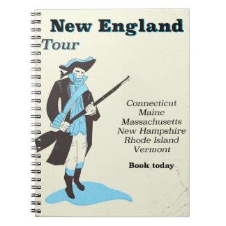 Caderno Espiral Poster das viagens vintage da excursão de Nova