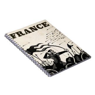 Caderno Espiral Poster das viagens vintage de France. carro