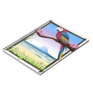 Caderno Espiral Poster de viagens da praia de Polinésia
