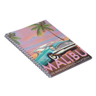 Caderno Espiral Poster de viagens de Malibu, Los Angeles,