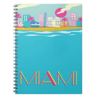 Caderno Espiral Poster de viagens de Miami dos anos 80 do vintage