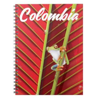 Caderno Espiral Poster de viagens do sapo de árvore de Colômbia