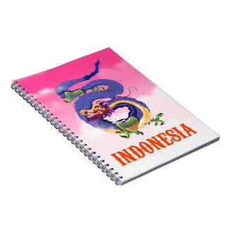 Caderno Espiral Poster de viagens retro do dragão de Indonésia