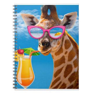Caderno Espiral Praia do girafa - girafa engraçado