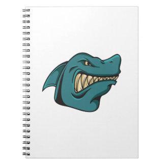 Caderno Espiral Presente engraçado engraçado da cara do tubarão