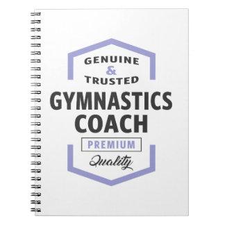 Caderno Espiral Presentes do logotipo do treinador da ginástica