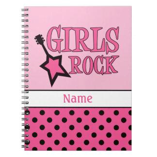 Caderno Espiral Preto cor-de-rosa feminino personalizado da escola