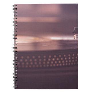 Caderno Espiral Preto do equipamento do vinil do registro da