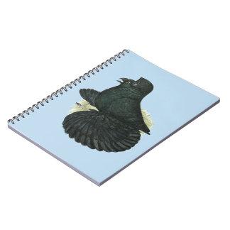 Caderno Espiral Preto do pombo da trompetista