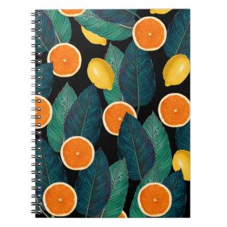 Caderno Espiral preto dos limões e das laranjas
