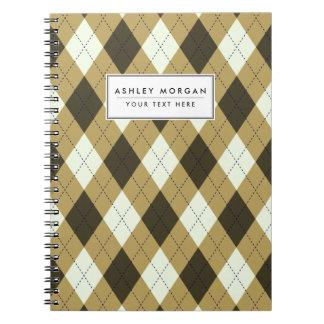 Caderno Espiral Preto e teste padrão geométrico de Argyle das