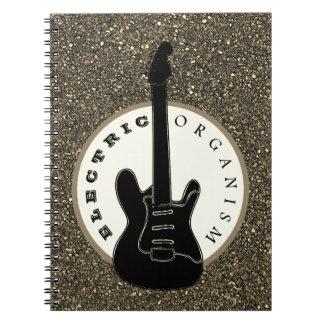 Caderno Espiral Preto elétrico do brilho da música rock da