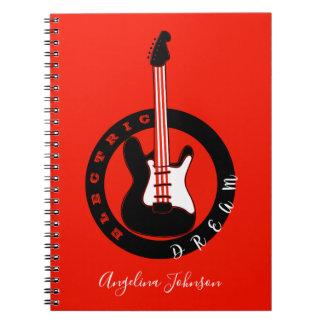 Caderno Espiral Preto ideal elétrico da música rock da guitarra