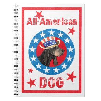 Caderno Espiral Preto patriótico e Coonhound de Tan