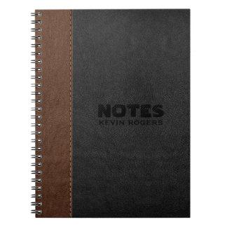 Caderno Espiral Preto & textura de couro costurada Brown