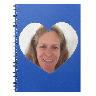 Caderno Espiral Quadro azul da foto do coração