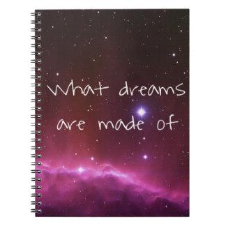 """Caderno Espiral """"Que sonhos são feitos"""" do céu nocturno"""