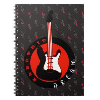 Caderno Espiral Quente floral do preto ideal elétrico da música