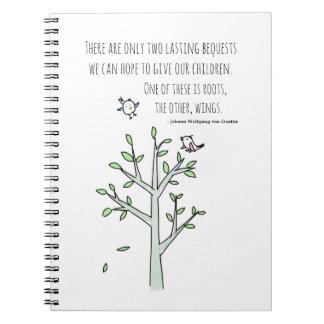 Caderno Espiral Raizes e asas que inspiram citações da