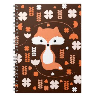 Caderno Espiral Raposa bonito, flores e folhas na laranja
