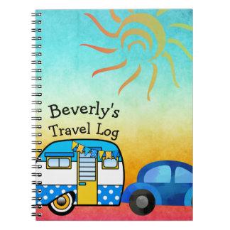 Caderno Espiral Registro bonito do viagem da viagem por estrada