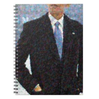Caderno Espiral Retrato abstrato do presidente Barack Obama 10a.jp