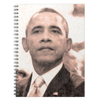 Caderno Espiral Retrato abstrato do presidente Barack Obama 30x30