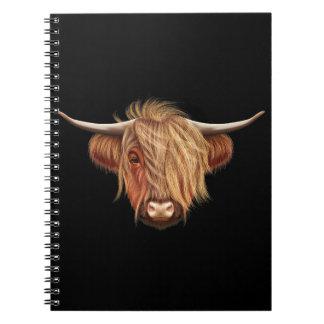 Caderno Espiral Retrato ilustrado do gado das montanhas