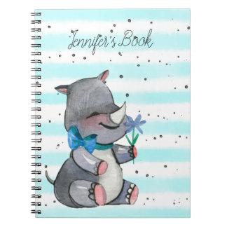 Caderno Espiral Rinoceronte do bebê com flor e arco azuis