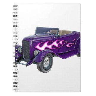 Caderno Espiral Roadster de 1932 roxos com chama