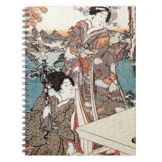 Caderno Espiral Rolo velho da gueixa japonesa do ukiyo-e do